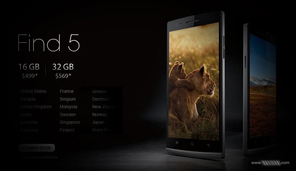 32 GB Oppo Find 5 finds its way to 18 more countries, Europeans can now rejoice