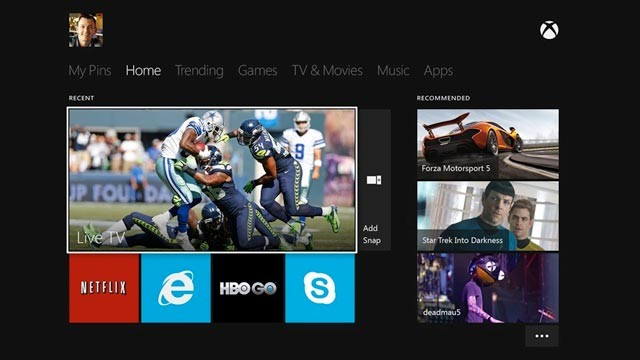 Xbox One interface