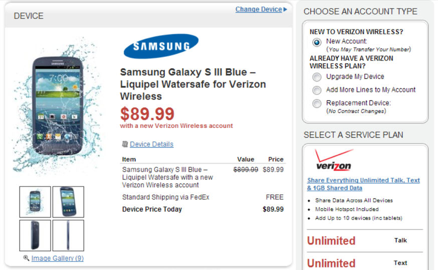 GS3 Waterproof Available at Verizon for $89.99