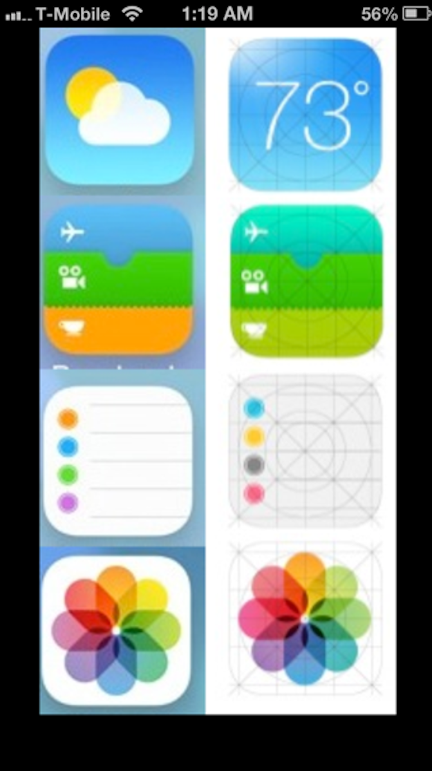 iOS 7 may appear as the icons on the right side of the photo when revealed later this Fall.