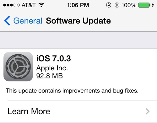 iOS 7.0.3 released with iCloud Keychain and iMessage fix