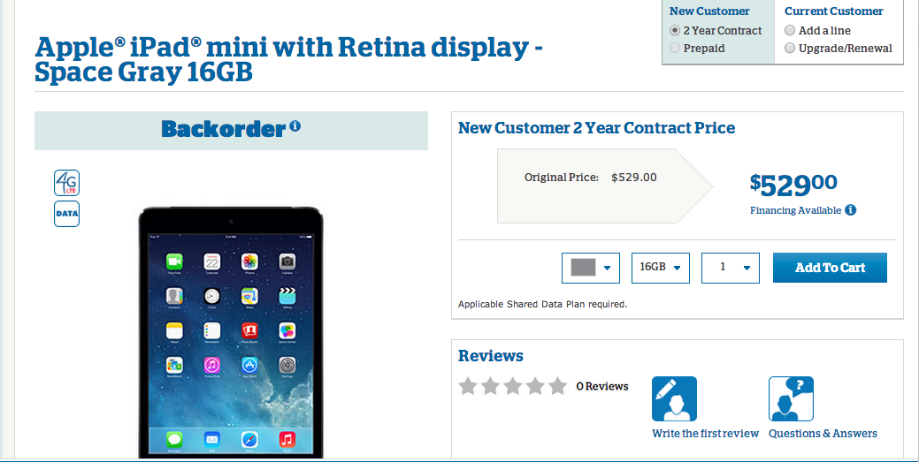US Cellular iPad Mini Retina Now Available for $529, Requires Shared Data Plan