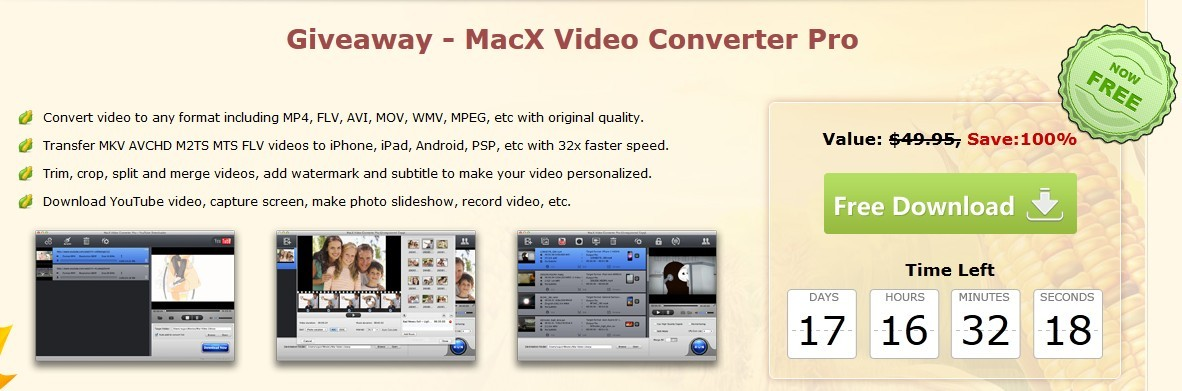 FREE Get MacX Video Converter Pro for Your iPhone iPad Android as Thanksgiving Gift