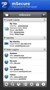 mSecure Password Manager iPhone App
