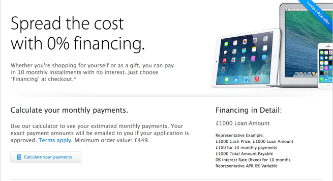 Apple offering 0% financing for online hardware purchases
