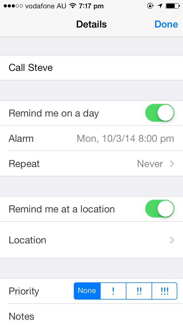 Location Based iOS 7 Reminders