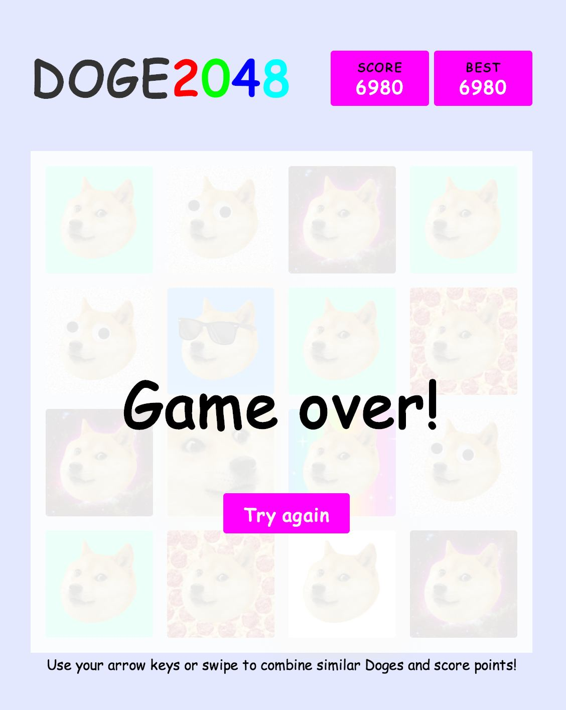 Doge2048 game