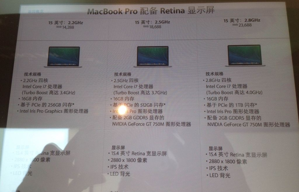 The new store in Chongqing, China is the first in that city of 29 million and also the first to publicly reveal Apple's unannounced 2014 MacBook Pro refresh.
