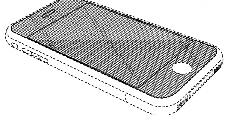 A line engineering drawing of a curved display iPhone.