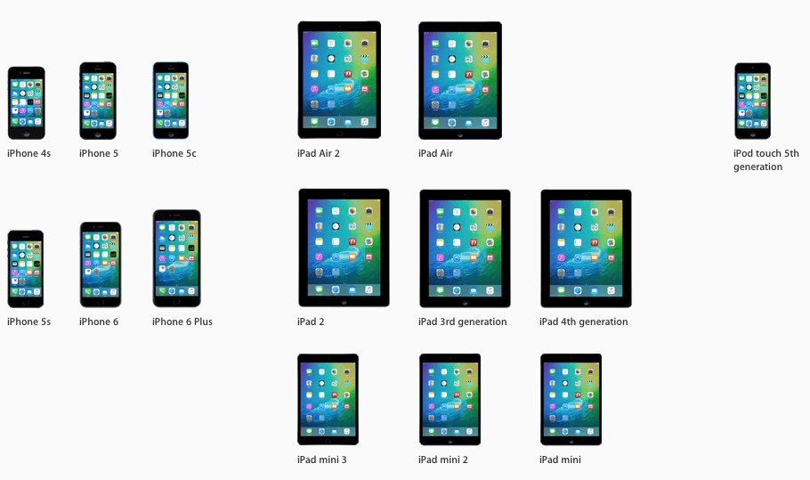 iOS 9 Compatible iPhone, iPad and iPod touch Models