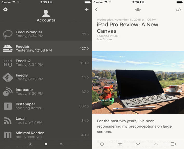 Reeder For iOS Now Syncs With Instapaper, Has 3D Touch, 'Safari View Controller' And More
