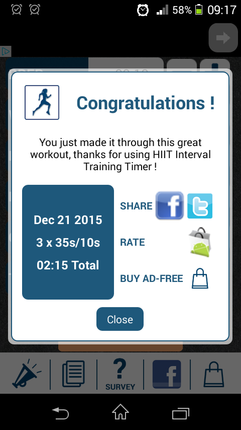 HIIT Interval Training Timer's post-workout screen