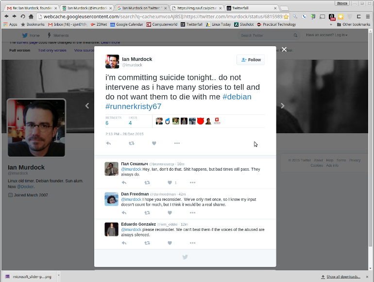 Ian Murdock tweet suggests suicide