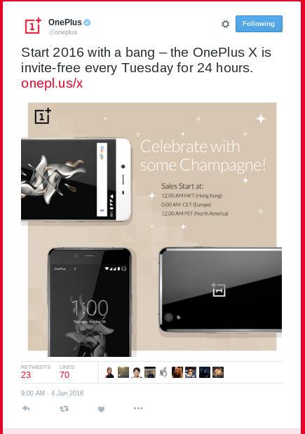 OnePlus X Now Invite-Free Every Tuesday