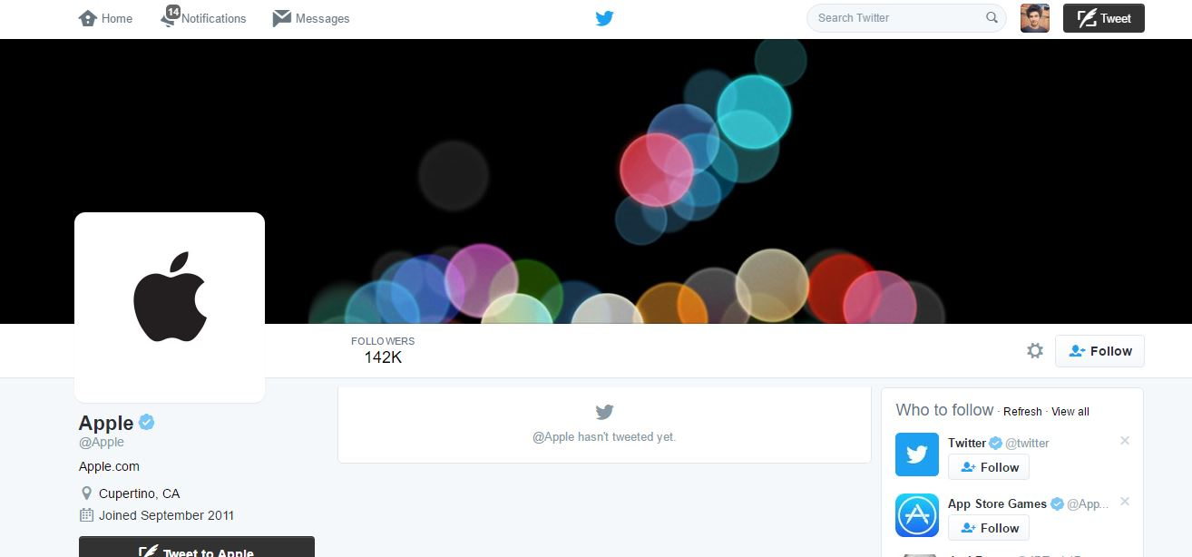 Apple finally realized that it had a Twitter account after 5 years