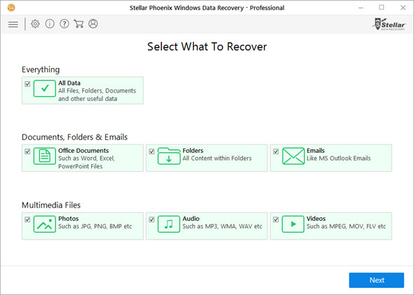 Screenshot of Stellar Phoenix Windows Data Recovery showing all its features and recovery options