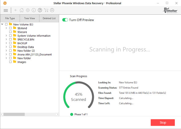 Screenshot of Stellar Phoenix Windows Data Recovery scanning for corrupted and deleted files