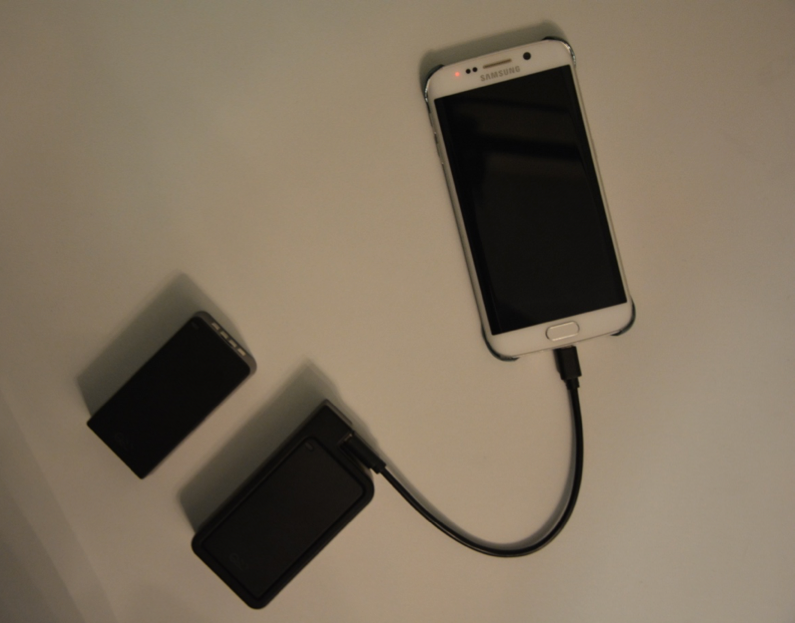 Q-Swap Power Bank Charging My Phone
