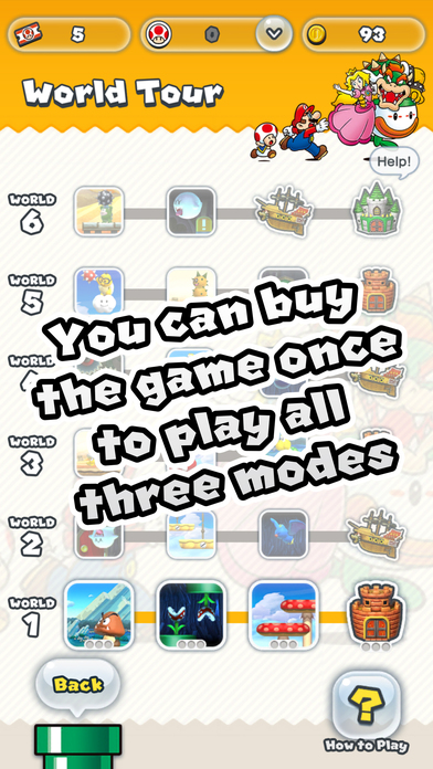 A Picture of the Super Mario Run game with modes