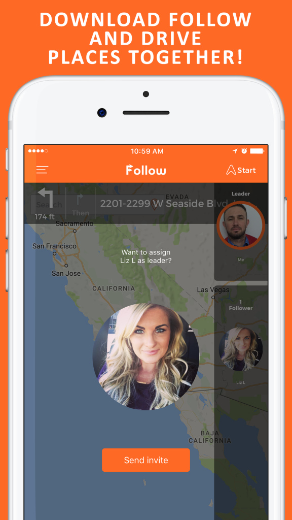 Image of Follow: Drive Together App Showing it's Interface