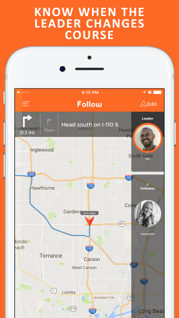 Image of Follow: Drive Together App Showing Key Functionality