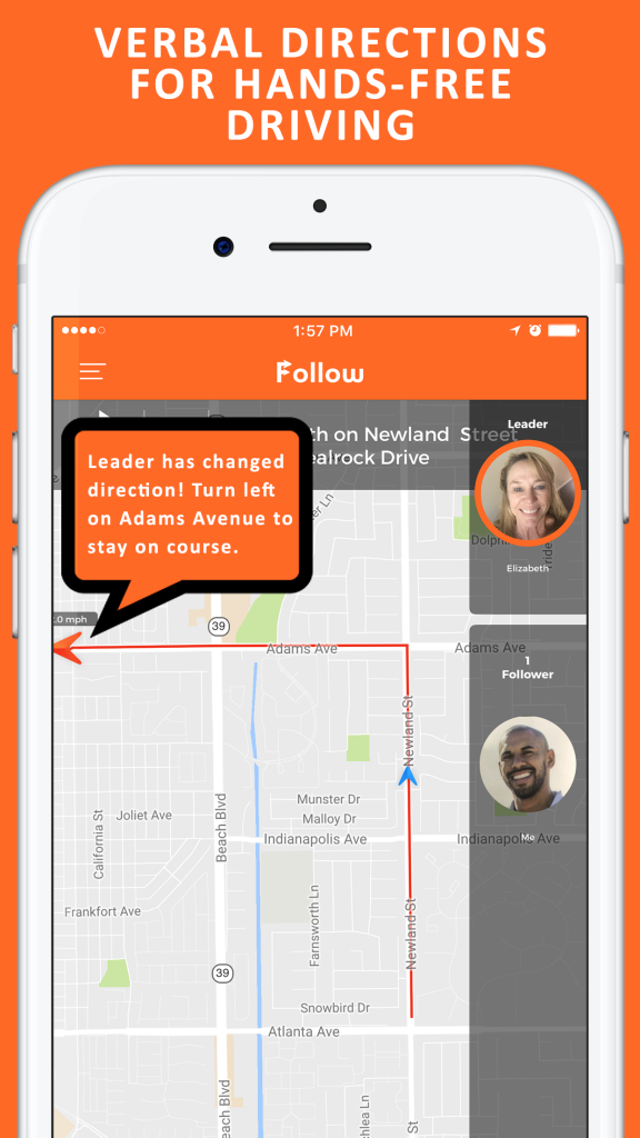 Image of Follow: Drive Together App Showing Another Key Functionality