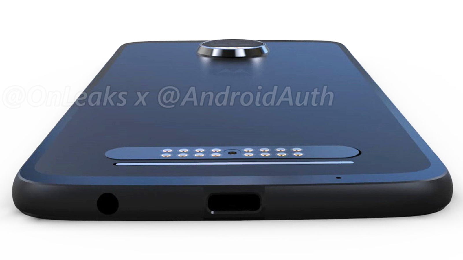 Leaked image of the design featuring the revival of the headphone jack on the Moto Z2 Force