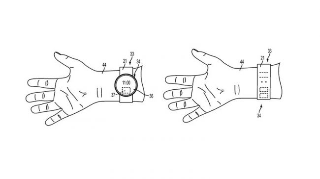 Leaked image of Apple's patent showing a smartwatch device