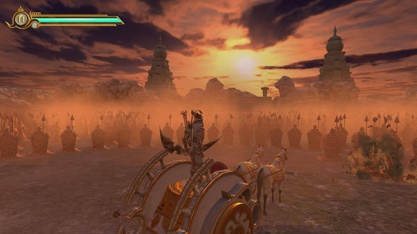 Playing  Legend of Abhimanyu Game on iOS - Side view