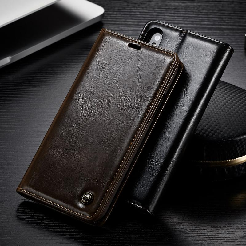 iPhone X Luxury Leather Magnetic Flip Wallet Case with Kickstand