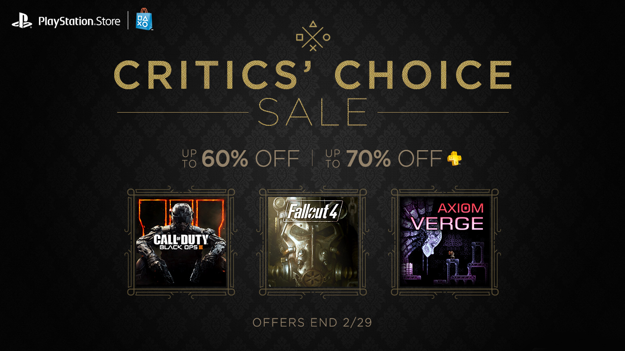 Playstation Critics' Choice Sale