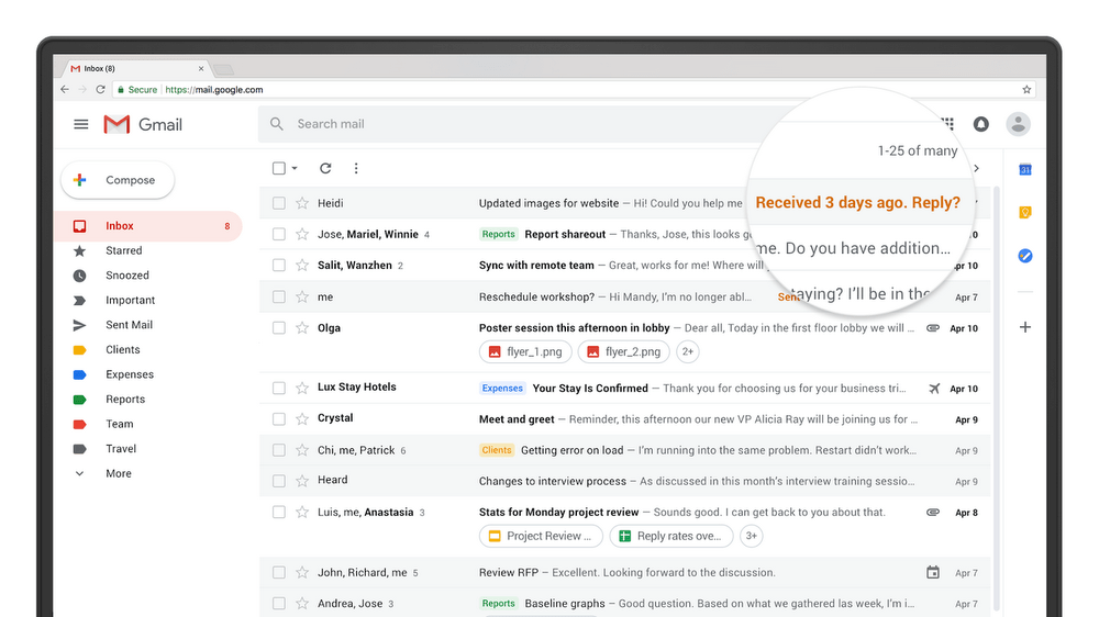 Gmail now looks more modern and also has new add-ons