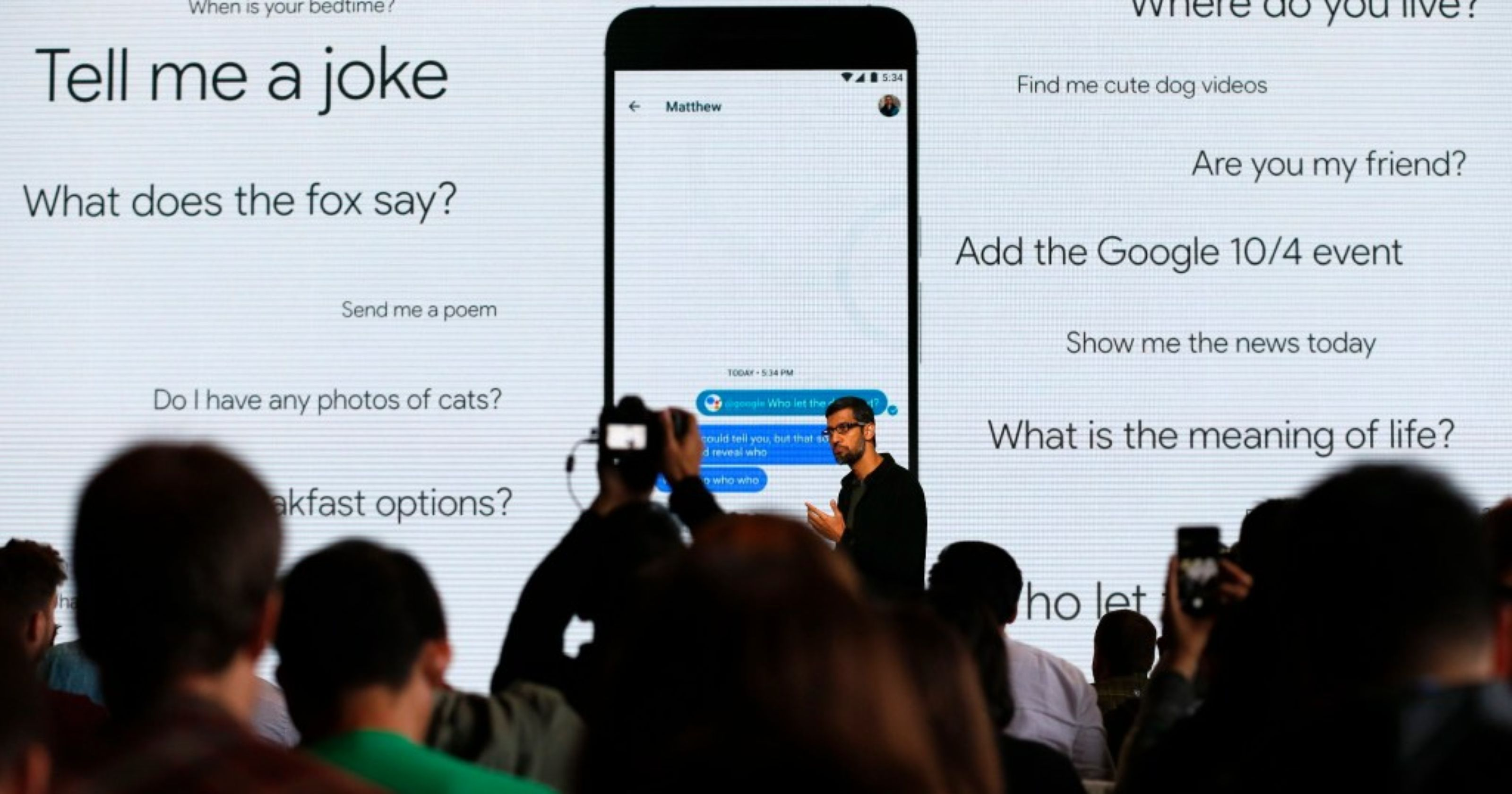 Sundar Pichai talking about Google Assistant