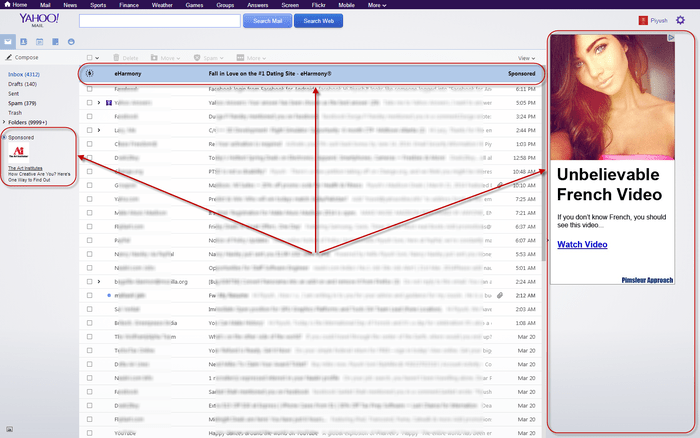 Ads in Yahoo Mail