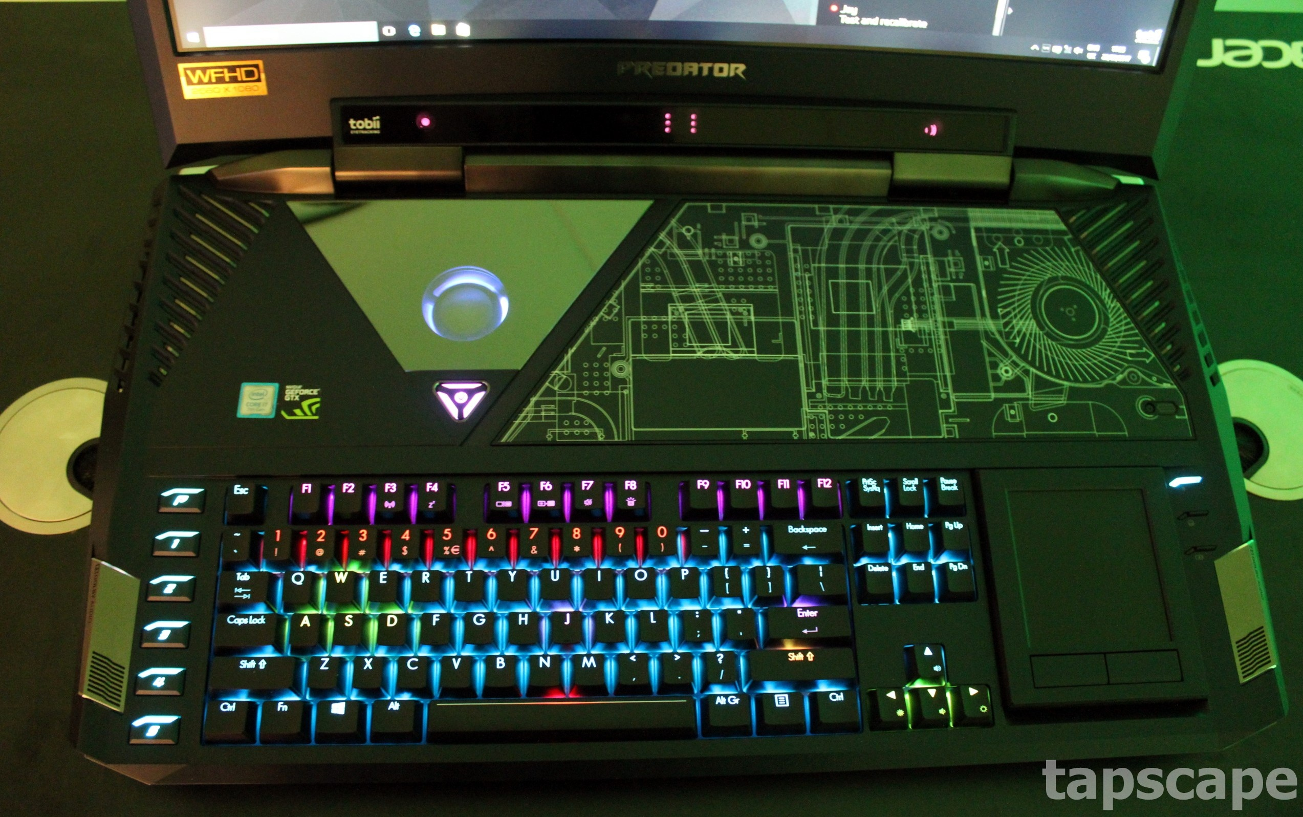 The keyboard of Acer Predator 21X gaming laptop