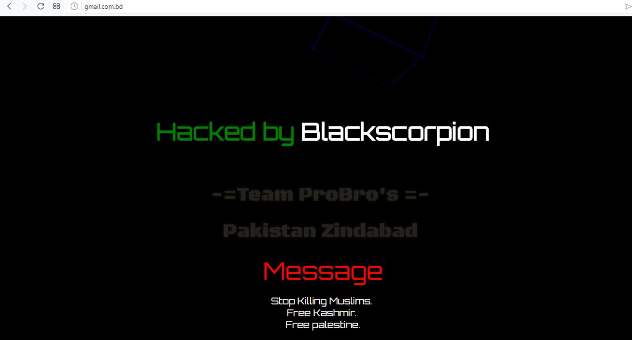A screenshot of Gmail website being hacked and defaced by the hacker named BlacScorpion