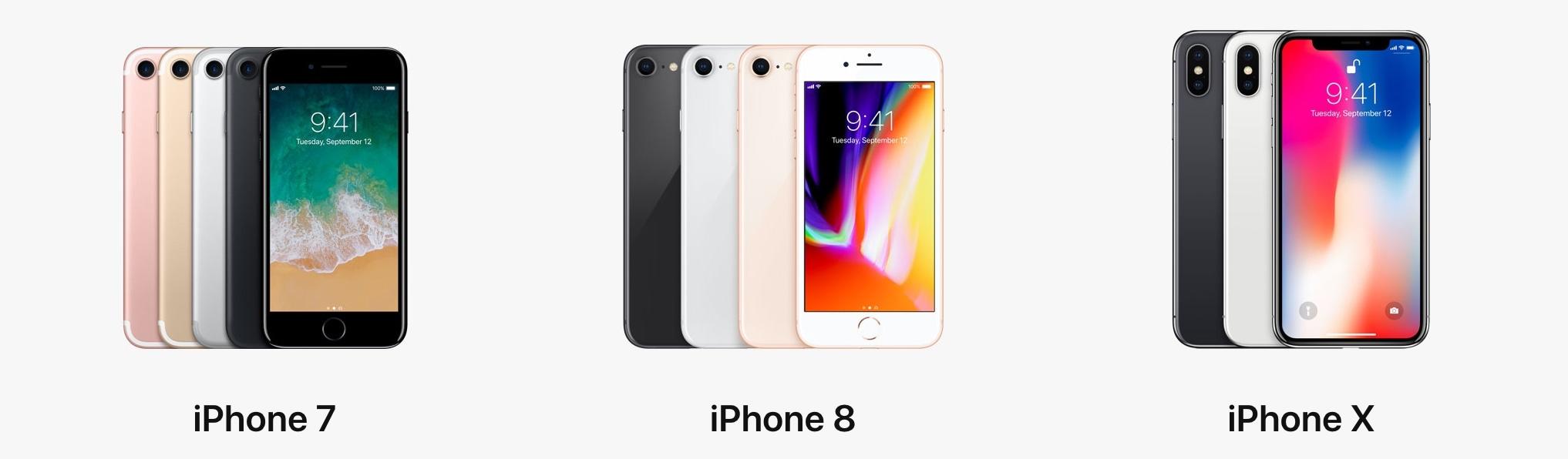 iPhone X, iPhone 8, iPhone 7