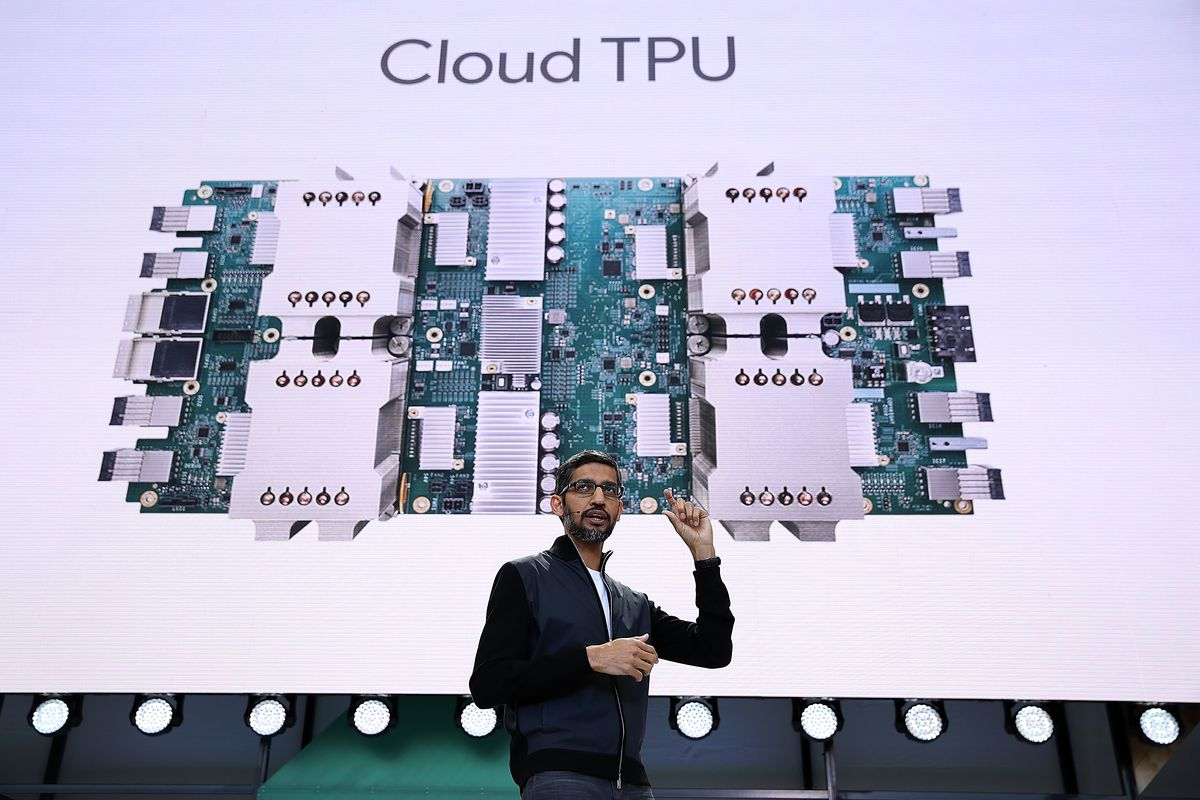 Sundar Pichai talking about Google's AI efforts at I/O 2017