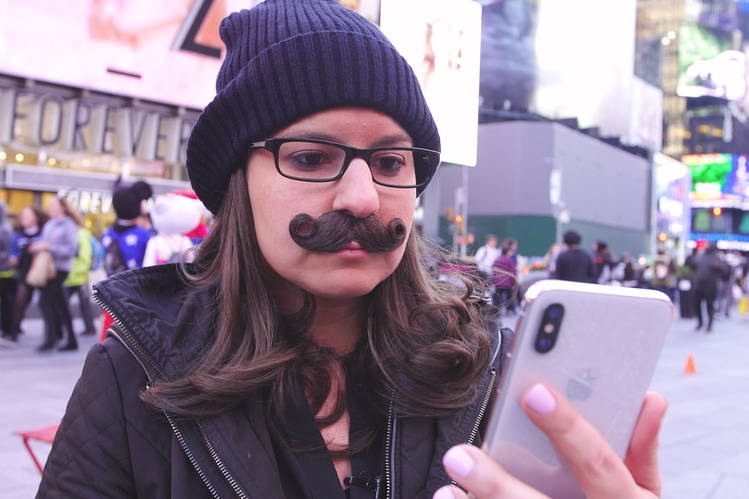 WSJ's Joanna Stern trying to fool Face-ID with a moustache, as expected Face-ID doesn't fall for it