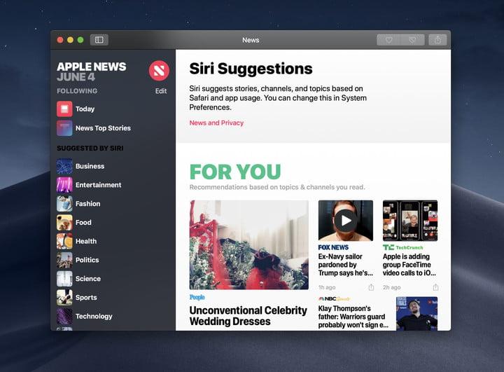 Apple News on macOS