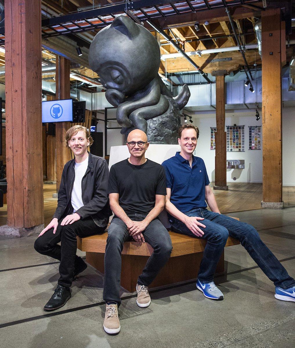 Satya Nadella with GitHub CEO