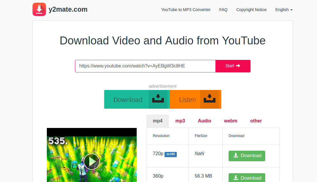 y2mate download video and audio