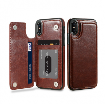 Brown Flip Leather Wallet Case