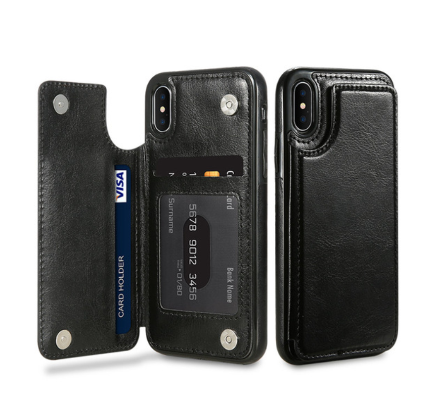 Black Flip Leather Wallet Case