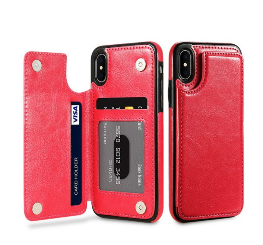 Red Flip Leather Wallet Case