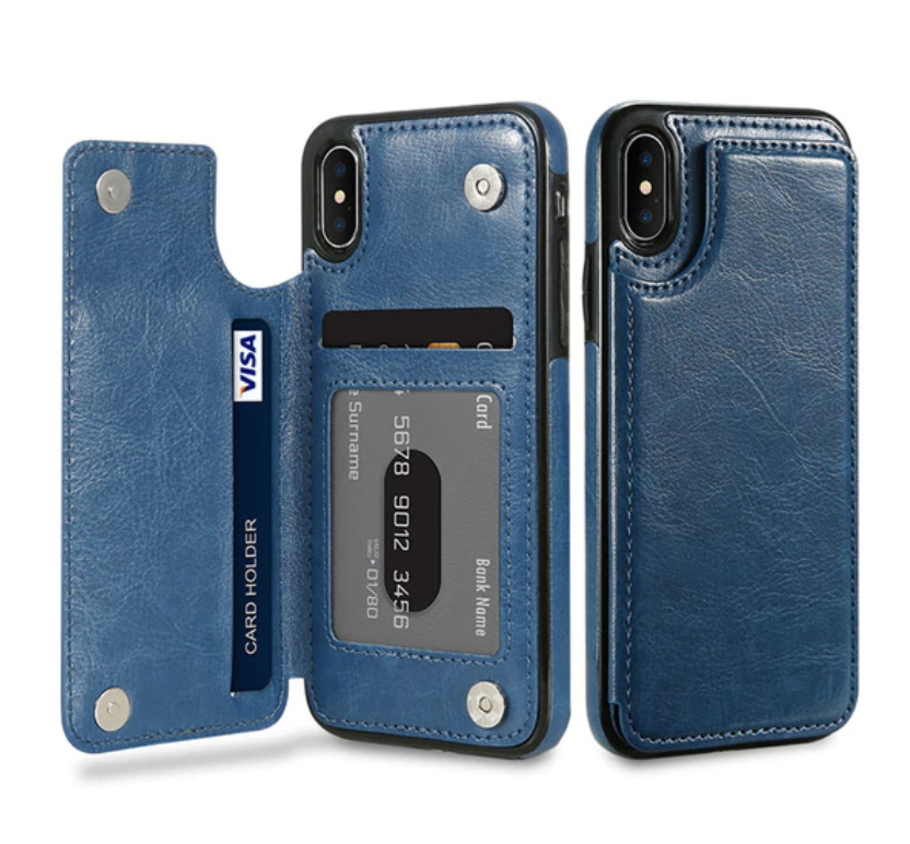 Blue Flip Leather Wallet Case