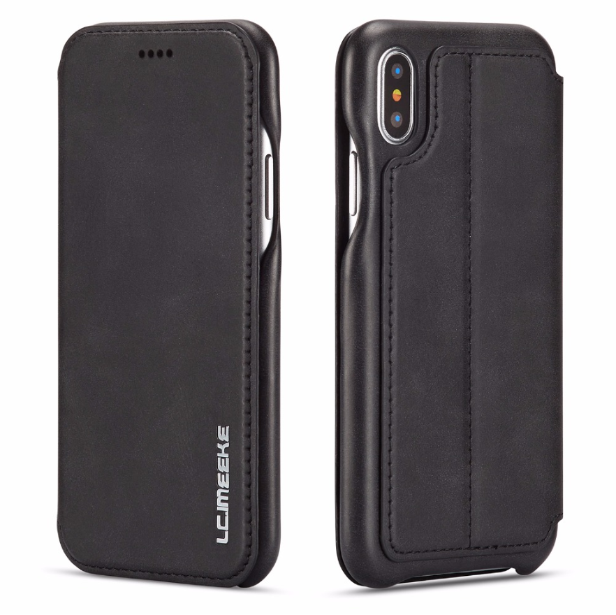Flip Stand Leather Wallet Case Black Both sides