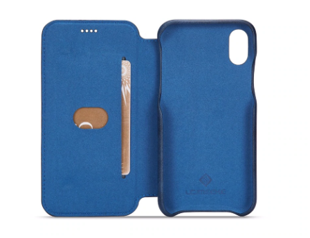 Flip Stand Leather Wallet Case Blue Inside