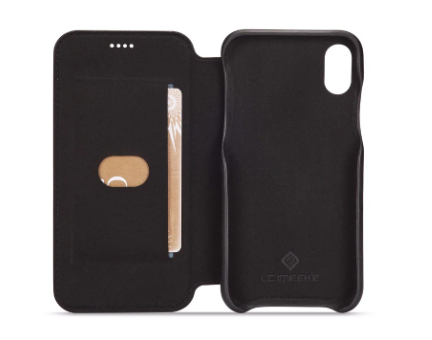 Flip Stand Leather Wallet Case Black Inside