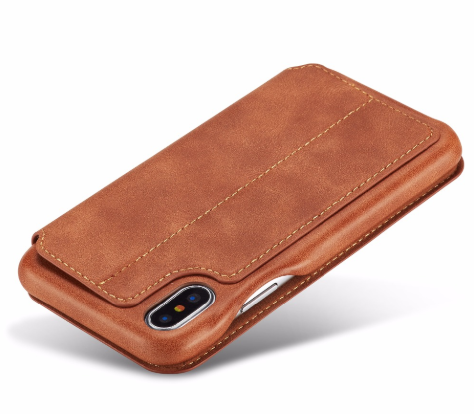 Flip Stand Leather Wallet Case Brown Back